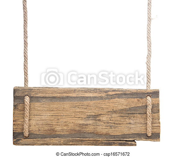 Blank Wooden Sign Hanging On A Rope Isolated On White Picture
