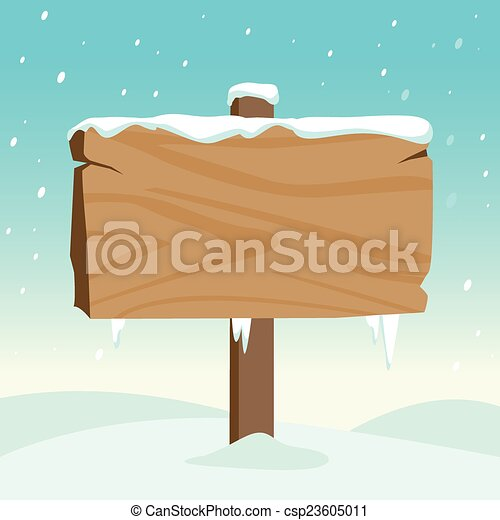 Blank wooden sign in the snow. Vector Illustration - csp23605011