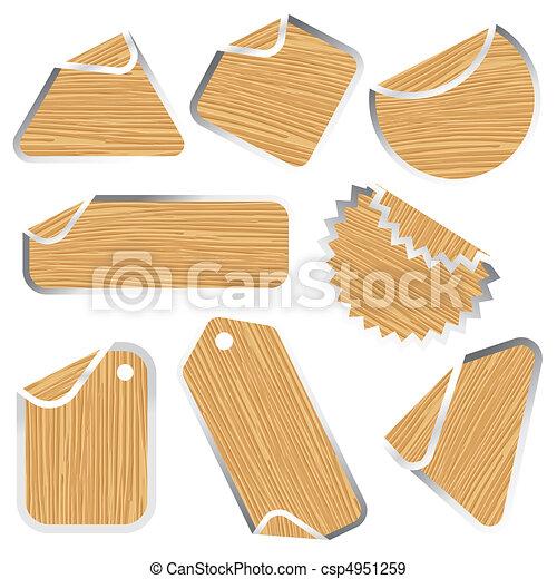 blank wooden stickers - csp4951259