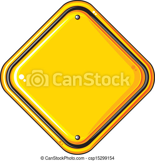 blank yellow road sign - csp15299154