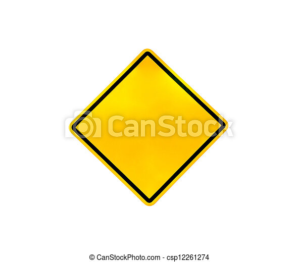 Blank yellow road warning sign - csp12261274