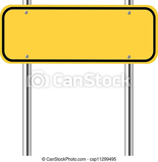 Blank yellow traffic sign - csp11299495