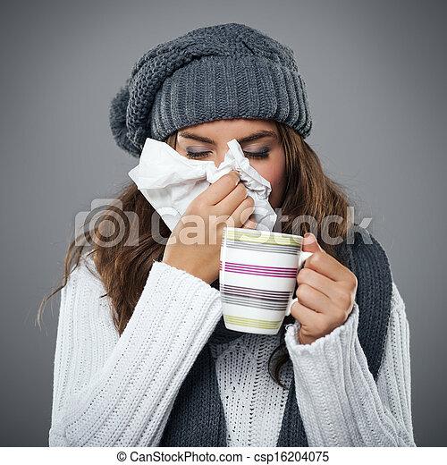 blasen, stofftaschentuch, sie, grippe, junge frau, nase, haben - csp16204075