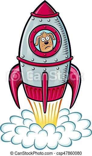 Blast off dog. Cartoon of a retro looking rocket ship that ...