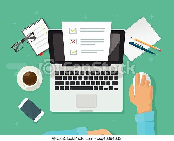 Vektorbild von blatt, arbeitende , form, laptop, quiz, person ...
