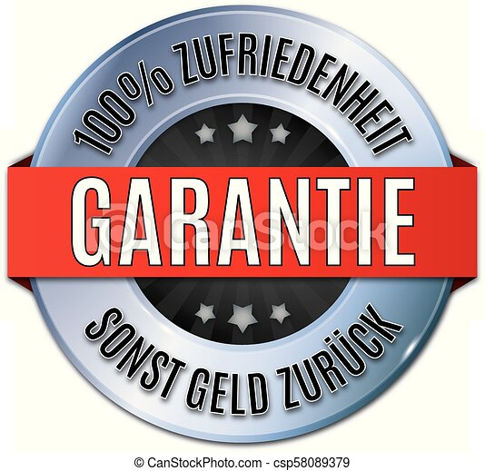 blau glnzendes rundes siegel  100% Zufriedenheit Garantie - csp58089379