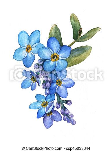 Blaue blumen, flower., blumengebinde, freigestellt, abbildung ...
