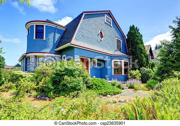 Blaue Verfassung, Rotes , Außen, Haus   Csp23635901