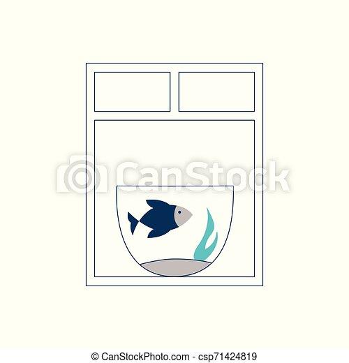 Aquarium mit schwimmenden blauen Fisch ist am Fenster. - csp71424819