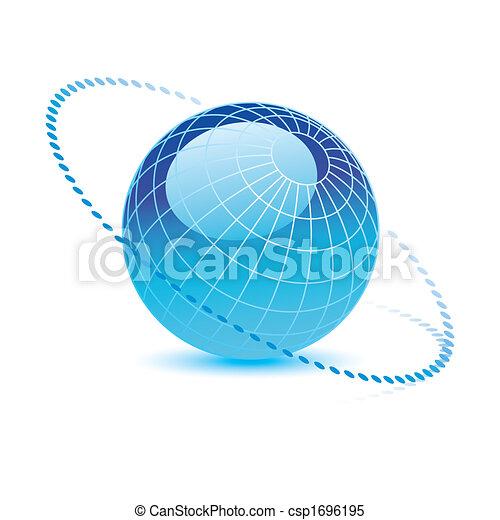 blauer globus, vektor - csp1696195