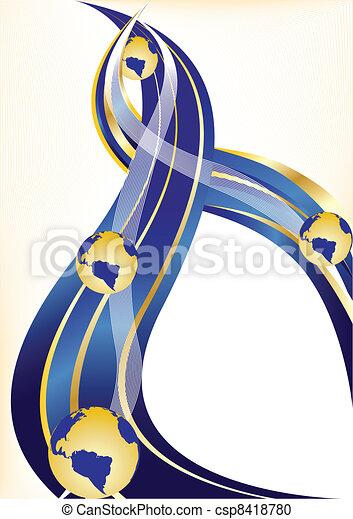 blauer globus, vektor, hintergrund, gold - csp8418780
