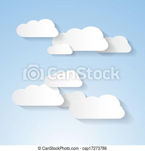 Papierwolken am blauen Himmel - csp17273786