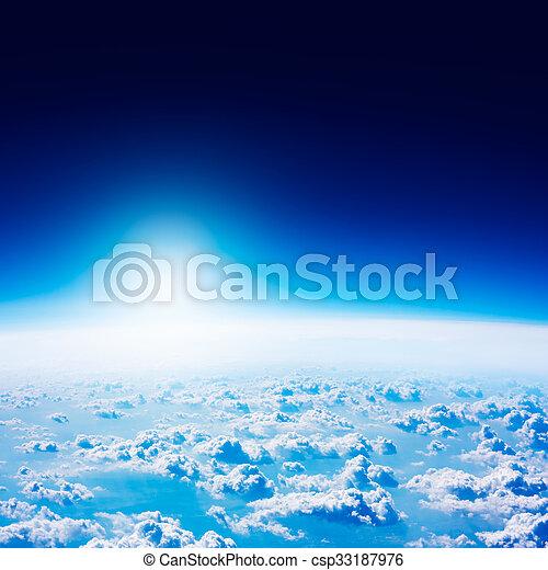blauer himmel, space., clouds., dunkel, erde, ansicht - csp33187976