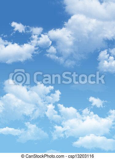 blauer himmel, wolkenhimmel, sun. - csp13203116