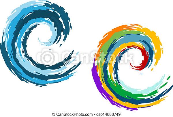 blauer ozean, bunte, wellen - csp14888749