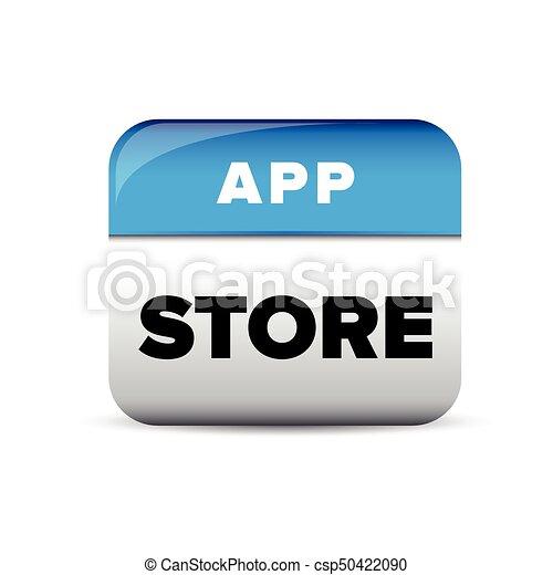 blaues, app, vektor, taste, kaufmannsladen - csp50422090