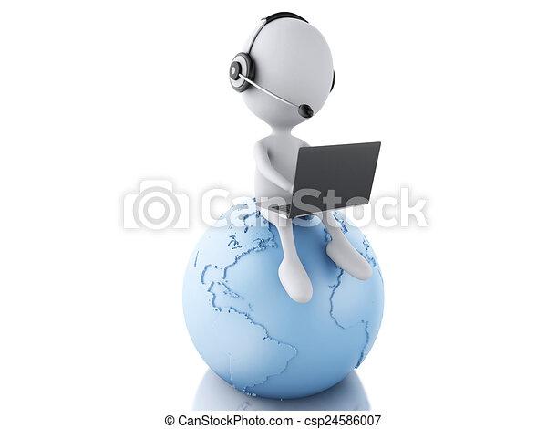 blaues, arbeitende , laptop, kopfhörer, person, eart, weißes, 3d - csp24586007