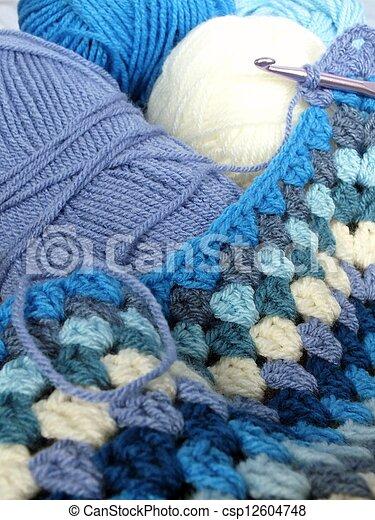 Blaues Baby Häkeln Decke