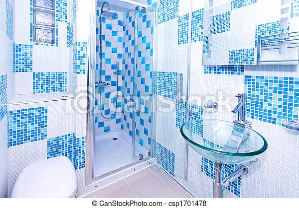 Blaues, badezimmer, kugel, modern, inneneinrichtung, neu .