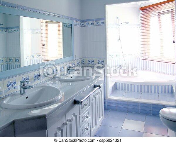Blaues, badezimmer, klassisch, fliesenmuster, dekoration ...