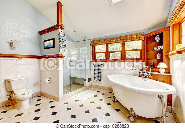 Schön Blaues, Badezimmer, Klassisch, Groß, Inneneinrichtung, Wanne, Tiles.  Stockfoto
