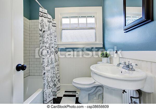 Blaues, badezimmer, licht, wände, design, inneneinrichtung ...