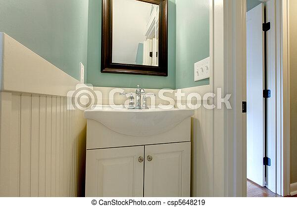 blaues, badezimmer, modern, grün, luxus, frisch, weißes, sinken