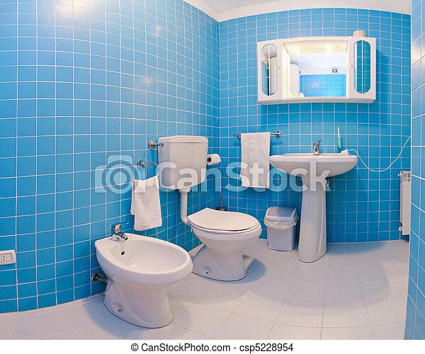 Blaues, badezimmer, kugel, modern, inneneinrichtung, fisheye.