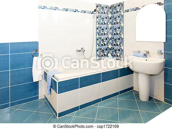 Blaues, badezimmer, kugel, fliesenmuster, inneneinrichtung.