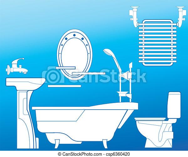 Blaues, badezimmer, handtuch, bad, dusche, trocknen,... Vektor ...