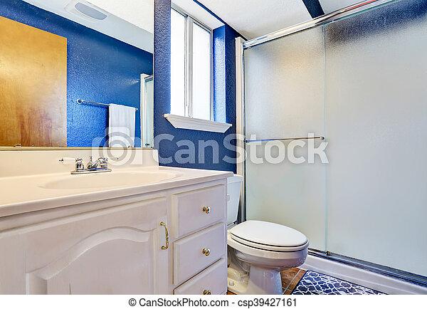 Blaues, badezimmer, wände, inneneinrichtung, weißes, eitelkeit ...