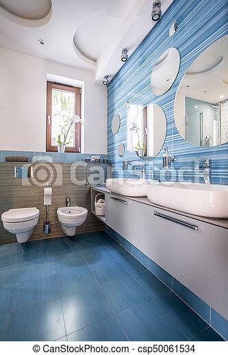 Blaues, Badfliesen, Spiegel   Csp50061534