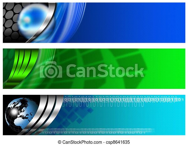 blaues, banner, drei, technologisch - csp8641635