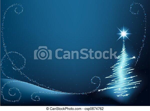 blaues, baum, weihnachten - csp0874762