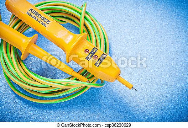 Blaues, begriff, elektrisch, prüfer, elektrizität, draht ...