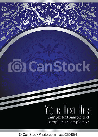 blaues, blatt, königlich, hintergrund, aufwendig, silber - csp3508541