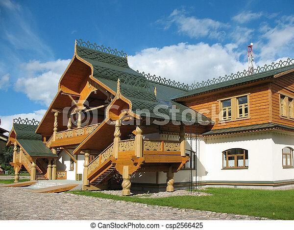 blaues blockhaus hölzern himmelsgewölbe hintergrund