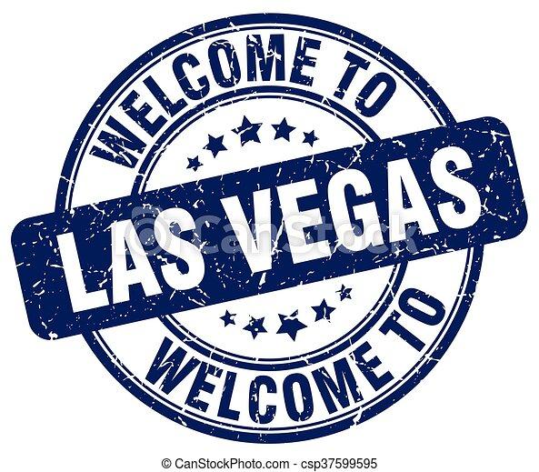 blaues, briefmarke, weinlese, herzlich willkommen, las vegas, runder , las - csp37599595