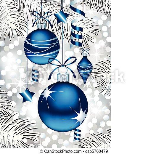 blaues, christbaumkugeln - csp5760479