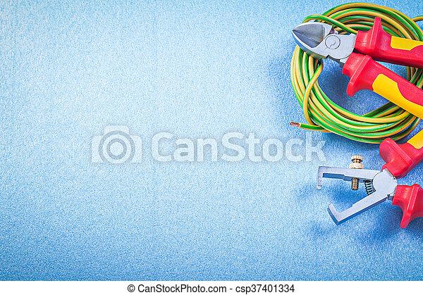 Blaues, draht, e, elektrisch, kabel, hintergrund, zange, nippers ...