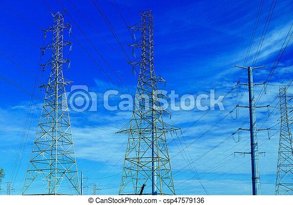 Blaues, draht, elektrizität, nest, himmelsgewölbe, gegen, chaotisch ...