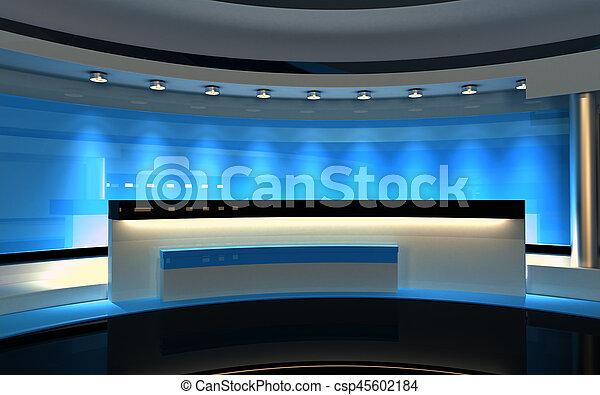 Studio. Tv Studio. Blue Studio. Blauer Rückwurf. 3D Rendering - csp45602184