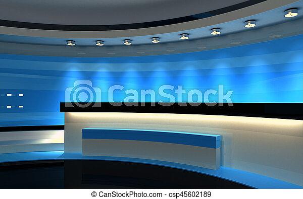 Studio. Tv Studio. Blue Studio. Blauer Rückwurf. 3D Rendering - csp45602189