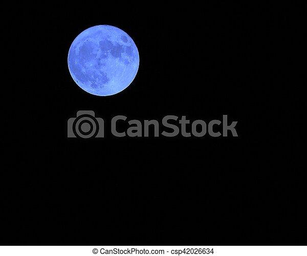 blaues, dunkel, mond- himmel, nacht - csp42026634