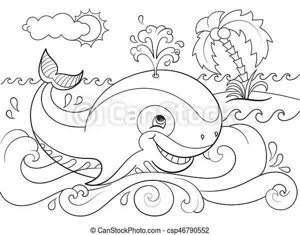 Blauwal auf einem Hintergrund von Ozeanfarben für Kinder Cartoon Vektor Illustration - csp46790552