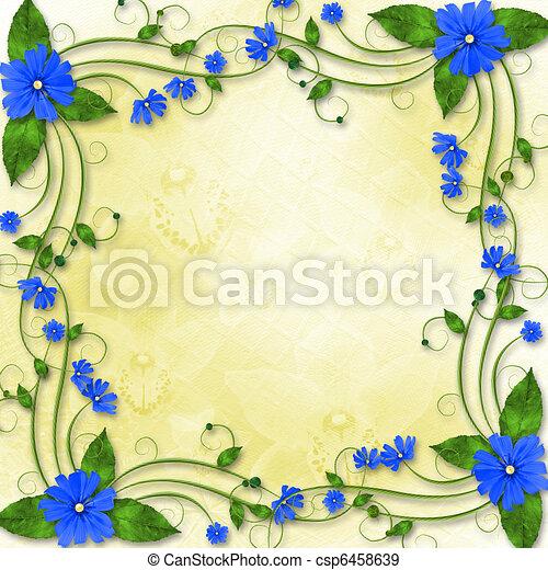 Blaues Feiertag Glückwünsche Blumen Rahmen
