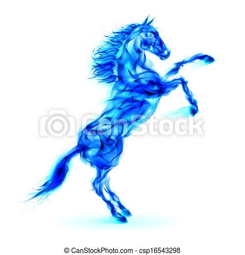 blaues, feuer, pferd, aufbäumen, auf. - csp16543298