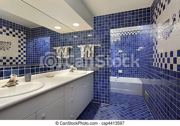 Blaues, fliese, badezimmer, upscale, daheim Bild - Suche Foto ...