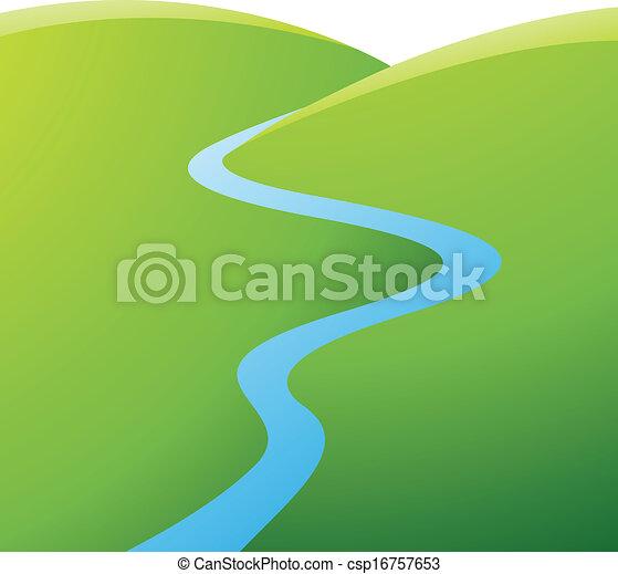 blaues, fluß, grüne hügel - csp16757653