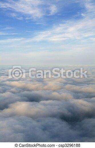 blaues, flugzeug, himmelsgewölbe, motorflugzeug, ansicht - csp3296188